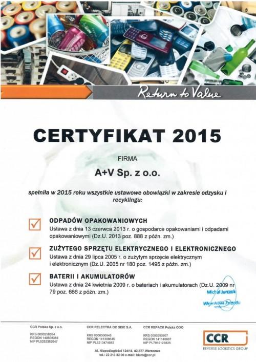 Certyfikat CCR 2015 3