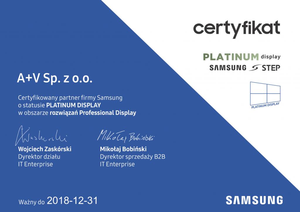 certyfikat Professional Display Samsung